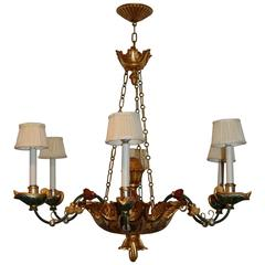 Early 19th Century Italian Polychromed Six-Light Chandelier