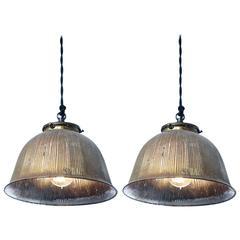 Pair of Original Rustic Mercury Glass Bell Pendants