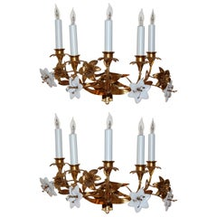 Pair of Early 19th Century Five-Light French Lily Sconces with Glass Flowers
