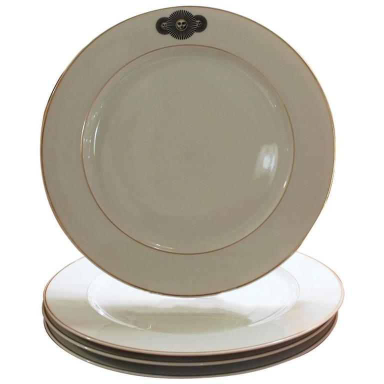 Set of Four Medusa Porcelain Piero Fornasetti Rosenthal Dinner Plates