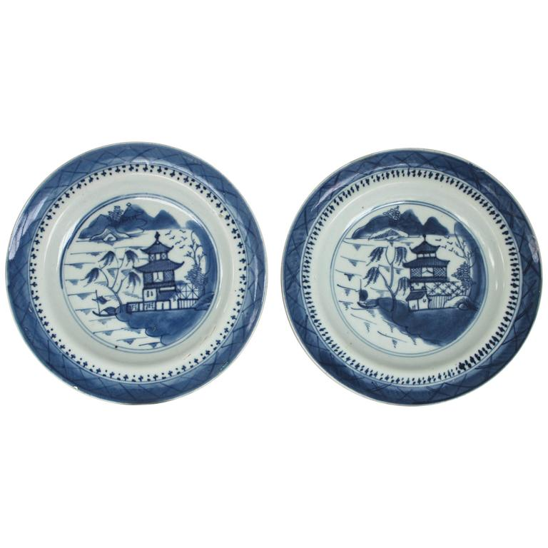 Pair of Canton Blue and White Plates