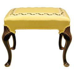 Black Lacquered and Gold Decorated Bench with Yellow Moire Fabric