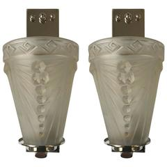 Pair of French Art Deco Sconces by Schneider