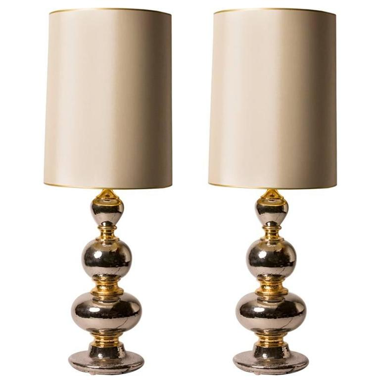Pair of French Deco Glazed Ceramic Table Lamps with Custom Shades 1