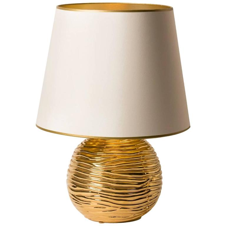 Mid-Century French Gold Glazed Ceramic Table Lamp For Sale
