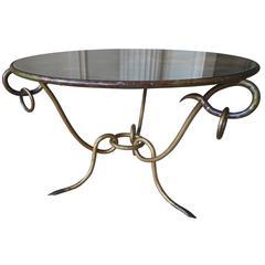 Elegant 1940s Gilt Coffee Table by René Drouet