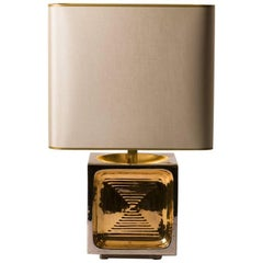Mid-Century, French Ceramic Table Lamp with Gold and Silver Glaze