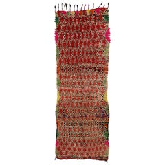 Vintage Berber Moroccan Runner with Tribal Style, Shag Hallway Runner