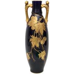 Porcelain Vase by Gustave Asch in Cobalt Blue and Gold, circa 1900