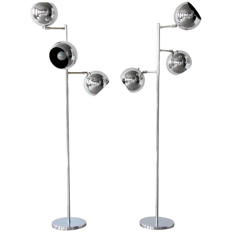 Pair of Koch and Lowy Triple Sphere Floor Lamps 1