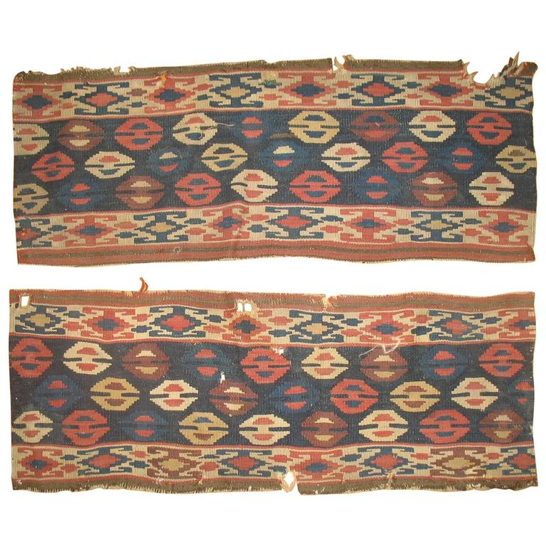 Pair of 19th Century Persian Kilim Fragments For Sale