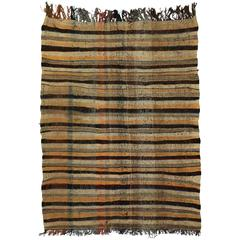 Mid-Century Modern Vintage Berber Moroccan Kilim Rug with Stripes