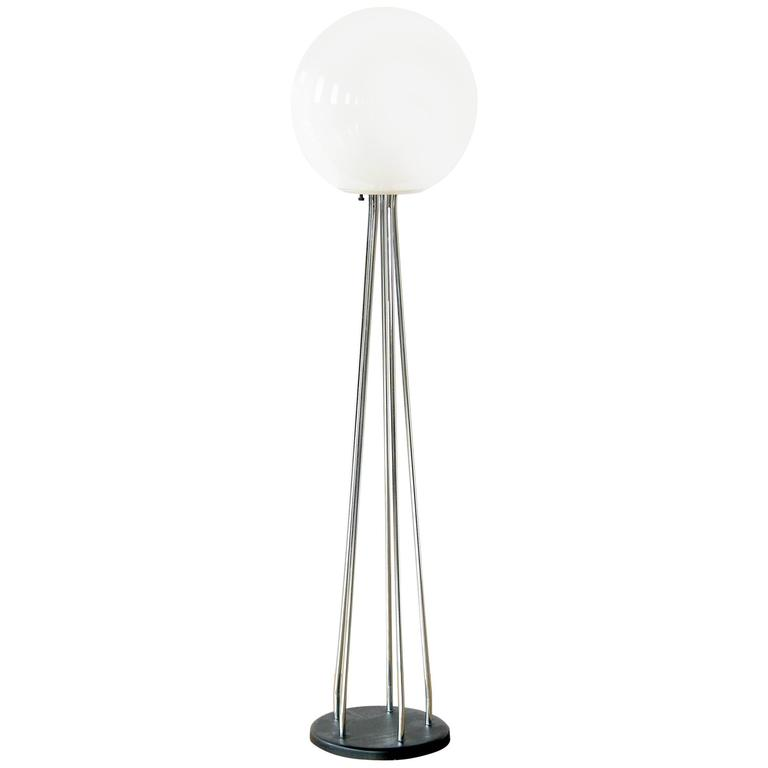 Chrome and Glass Ball Floor Lamp  1