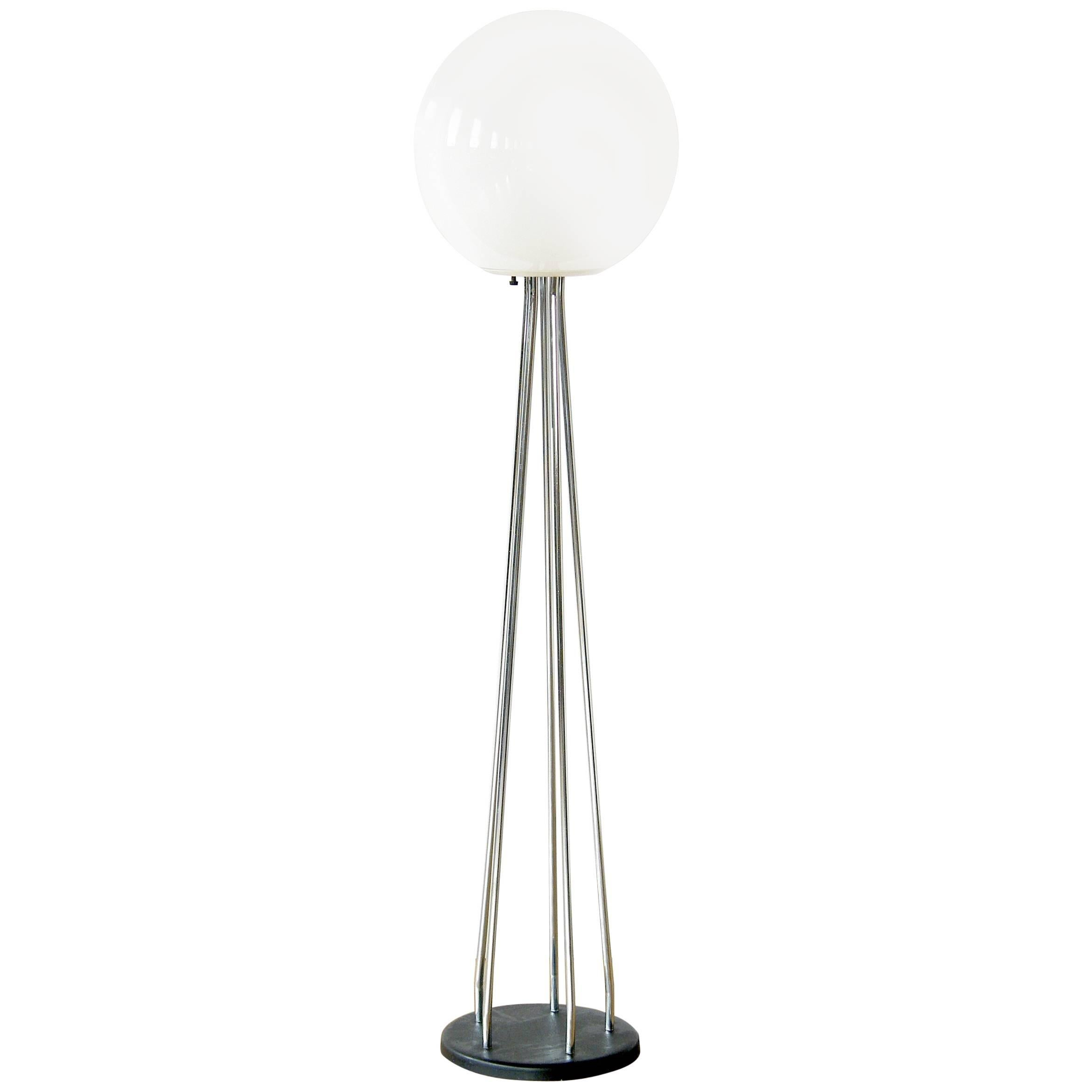Floor Lamp  with Black and Chrome Base and White Glass Globe Shade