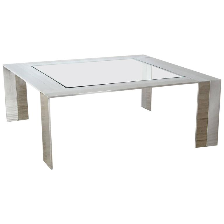 Brushed and Polished Stainless Steel and Glass Coffee Table