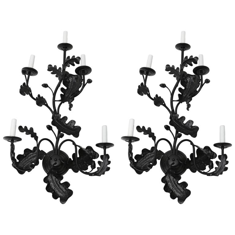 Pair Iron Five Light Table Sconces For Sale At 1stdibs