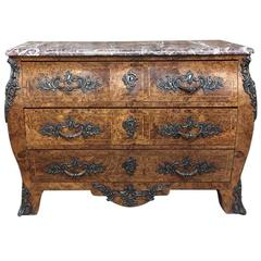 19th Century French Marble-Top Marquetry Bombe Commode