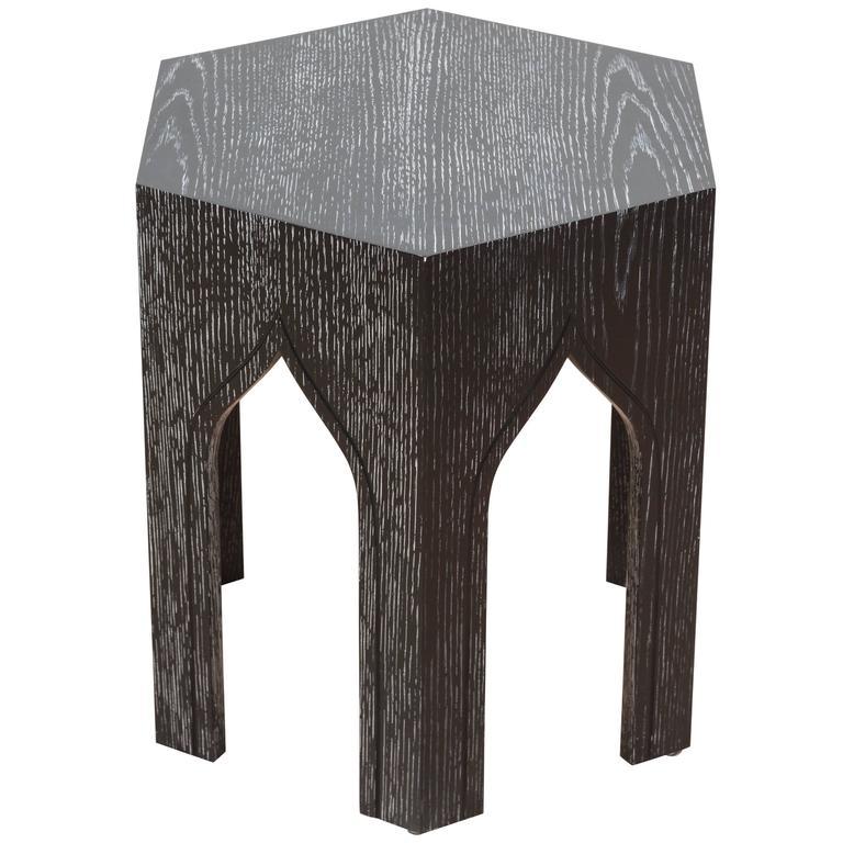 Large Tabouret Table by Lawson-Fenning in Cerused Ebonized Oak