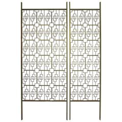 Architectural Brass Toned Decorative Room Divider or Screen