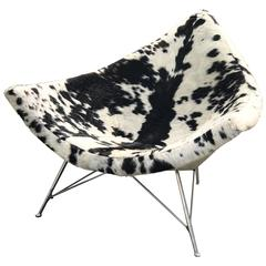 "1960s George Nelson ""Coconut"" Lounge Chair in Cow Hide"