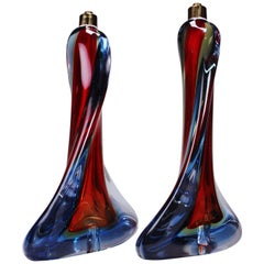 Pair of Murano Red, Blue and Yellow Crystal Sommerso Table Lamps, 1960s