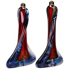 Rare Pair of Murano Red, Blue and Yellow Crystal Sommerso Table Lamps, 1960s