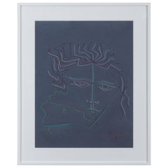 Pastel on Paper Attributed to Jean Cocteau