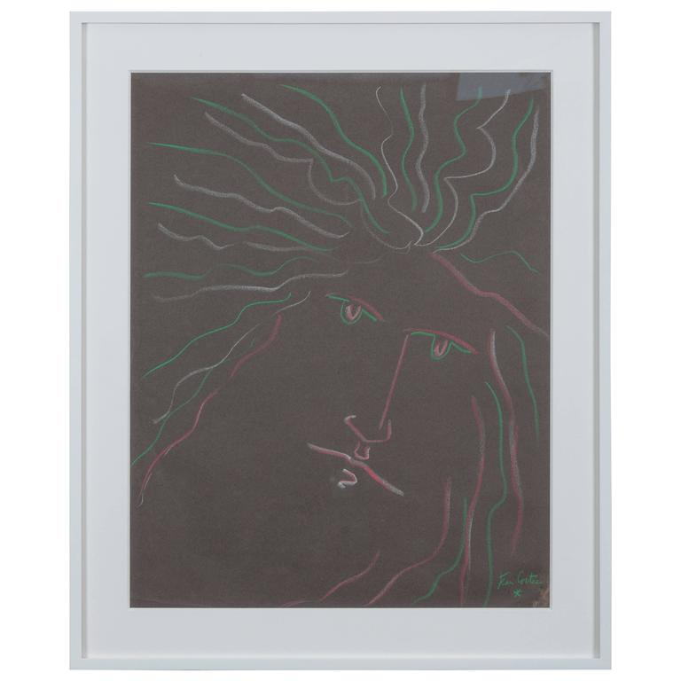 Pastel on Paper Attributed to Jean Cocteau For Sale
