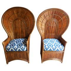 Pair of Vintage Bamboo Peacock Chairs