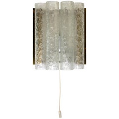 Doria Mid Century Modern Textured Clear Ice Glass Wall Light, 1960s