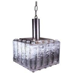 Striking Kemp & Lauritzen Danish Nordlys Glass Cylinder Pendant, 1960s