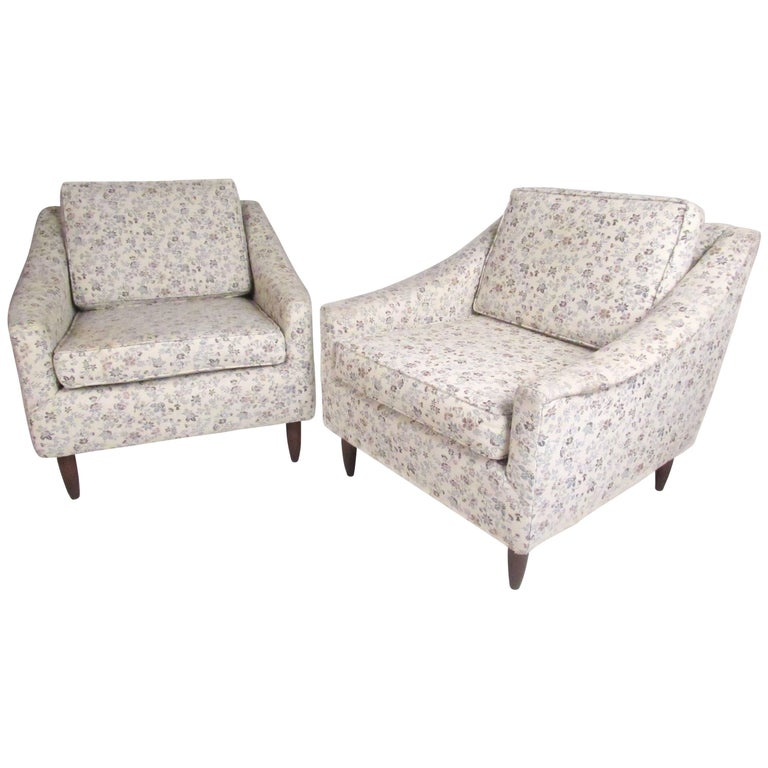 Mid-Century Modern Upholstered Lounge Chairs For Sale