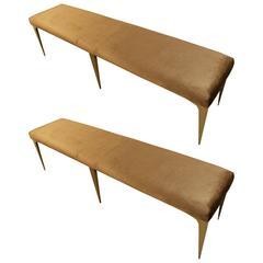 Pair of Italian Designed Benches in Gold Velvet Hollywood Regency Stle