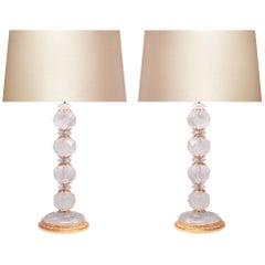 Pair of Ormolu-Mounted Rock Crystal Quartz Lamps