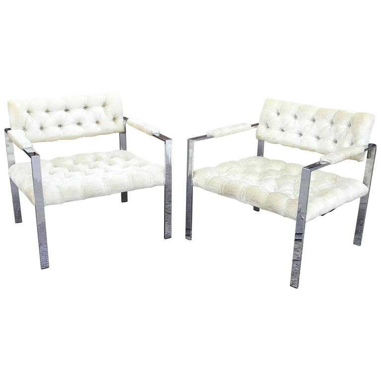 Pair of Chrome and Velvet Lounge Chairs by Milo Baughman for Thayer Coggin