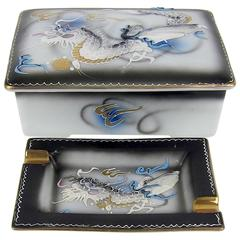 Vintage Japanese Moriage Dragonware Cigarette Box with Two Ashtrays