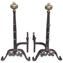Pair of English Wrought Iron and Brass Melon Top Andirons, Circa 1820