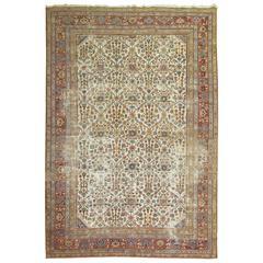 Worn Persian Mahal Rug