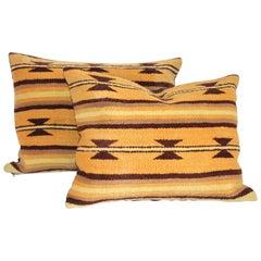 Pair of Mustard and Brown Navajo Indian Weaving