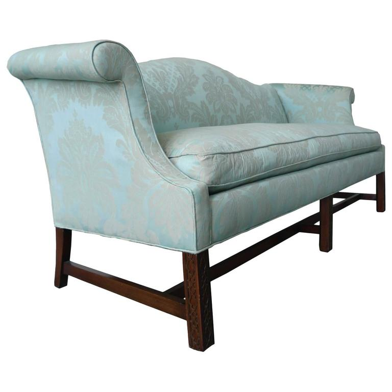 Chinese chippendale sofa camelback mahogany chinese for Chinese style sofa