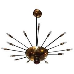 Mid-Century Modern Brass Starburst Chandelier by Paavo Tynell