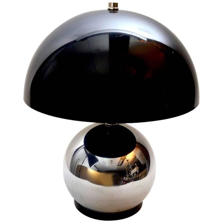 Chrome Ball Lamp With Grey Lucite Shade For Sale At 1stdibs
