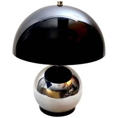 Chrome Ball Lamp with Grey Lucite Shade