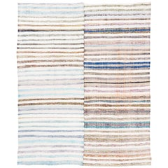 Striped Vintage Cotton Kilim in Soft Colors