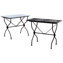 Pair of French Garden Table with Marble Tabletop