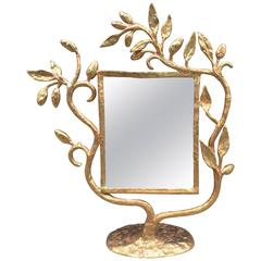 Odyssée Paris, Gilt Metal Sculpture Mirror, circa 1980, Signed