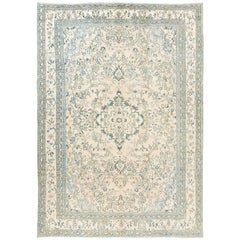 Vintage Oushak Area Rug in Soft Aqua Blue, Teal, Rust and Cream Colors