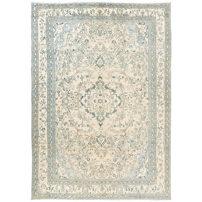 Wonderful Interior The Elegant Teal And White Area Rug: Vintage Oushak Area Rug In Soft Aqua Blue, Teal, Rust And