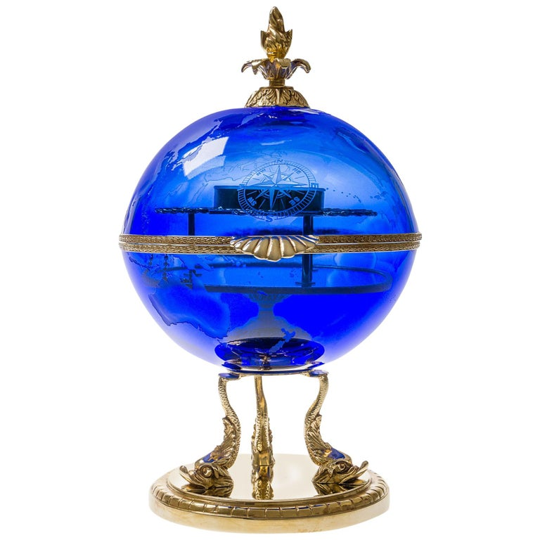 Blue Crystal Vodka & Caviar Cave With Covered 22-Carat Gold, Oriental-Style For Sale