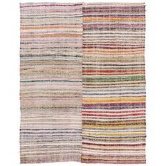 Colorful Vintage Cotton Rag Rug, Flat-Weave Kilim